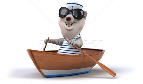 Diversão tenha oceano barco branco desenho animado Foto stock © julientromeur