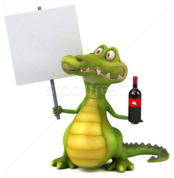 Krokodil eğlence şarap mutlu dizayn sanat Stok fotoğraf © julientromeur