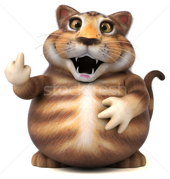Jókedv macska 3d illusztráció állat rajz kiscica Stock fotó © julientromeur