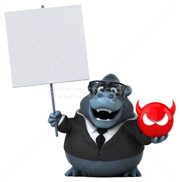 Eğlence goril 3d illustration bilgisayar takım elbise hayvan Stok fotoğraf © julientromeur