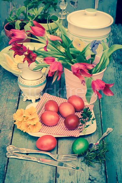 Páscoa pintado ovos vintage estilo flores Foto stock © Julietphotography