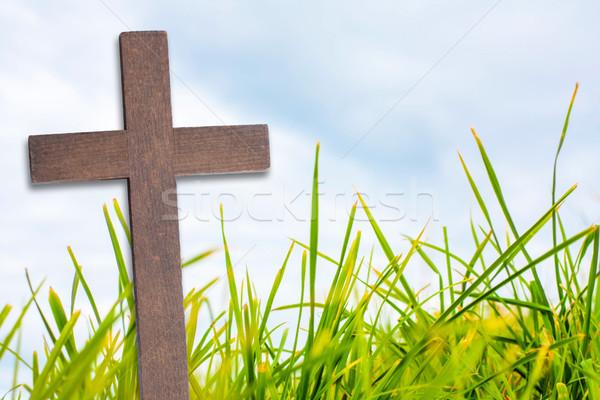 Krzyż Jezusa Chrystusa zielona trawa niebo Wielkanoc Zdjęcia stock © Julietphotography