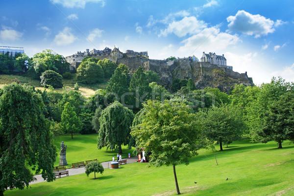 Rua jardins Edimburgo castelo escócia verão Foto stock © Julietphotography