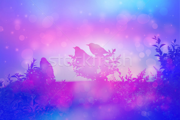 Dreamy scene with starling birds on the rooof in the garden  Stock photo © Julietphotography