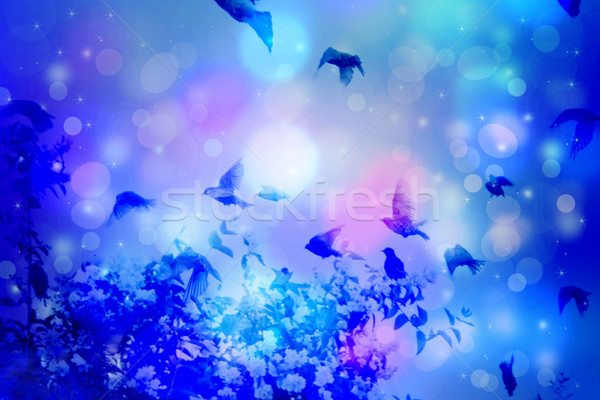 Dreamy winter scene with starling birds flying against blue sky with bokeh light  Stock photo © Julietphotography