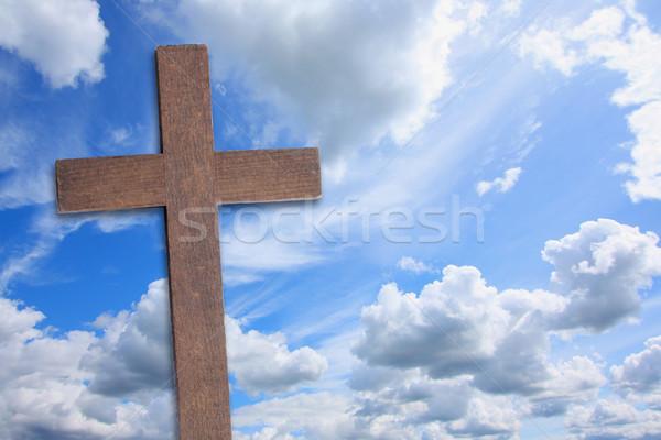 Atravessar jesus cristo belo nuvens páscoa Foto stock © Julietphotography