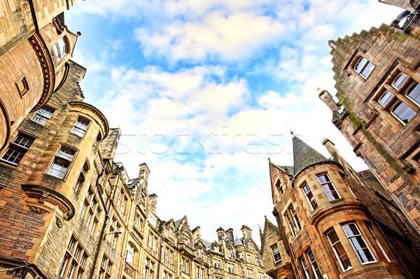 Történelmi építészet utca óváros Edinburgh Skócia égbolt Stock fotó © Julietphotography