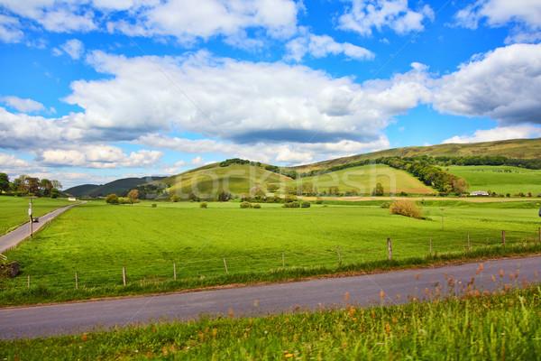 Tájkép mezők utak dombok égbolt felhők Stock fotó © Julietphotography