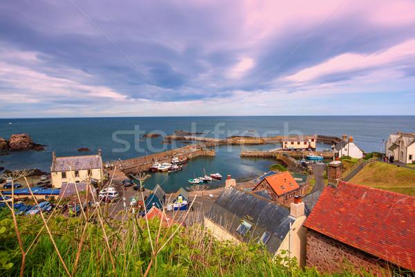 港 村 スコットランド 海 赤 石 ストックフォト © Julietphotography