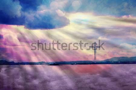 Cross Gesù Cristo bella nubi erba Foto d'archivio © Julietphotography