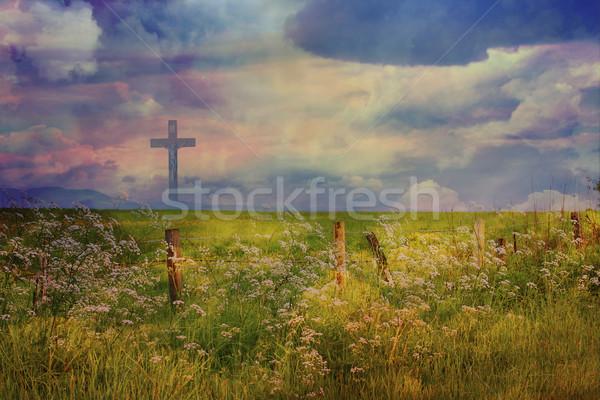 Krzyż Jezusa Chrystusa piękna chmury Wielkanoc Zdjęcia stock © Julietphotography
