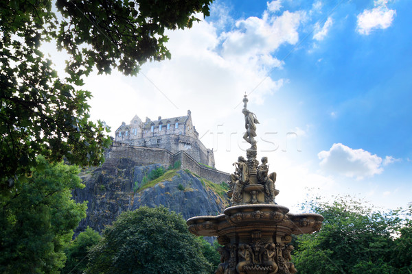фонтан Эдинбург замок Шотландии лет день Сток-фото © Julietphotography