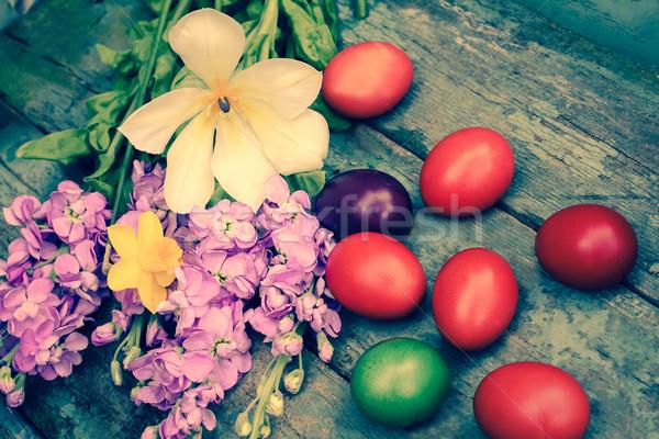 Пасху окрашенный яйца Vintage стиль цветы Сток-фото © Julietphotography