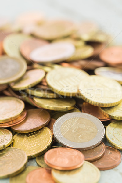 Stock photo: Heap of assorted Euro coins