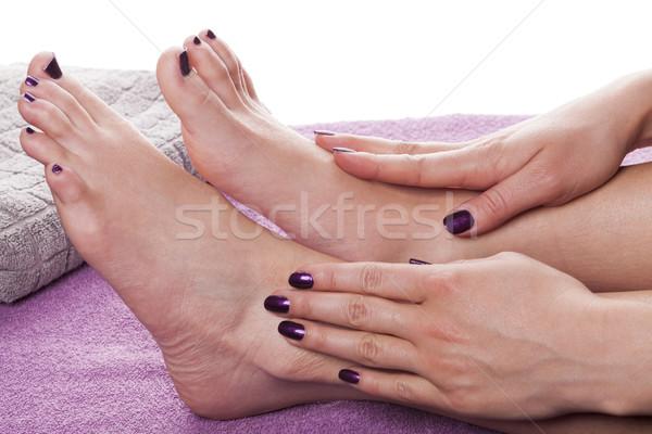 Mains pieds nus vernis à ongles peint sombre gris Photo stock © juniart