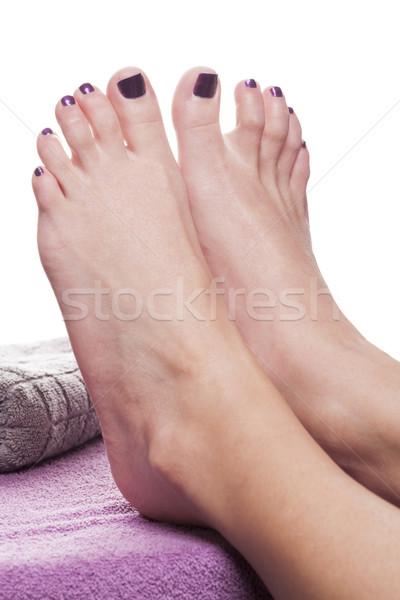 Pieds nus pédicure serviette soft pourpre traitement Photo stock © juniart