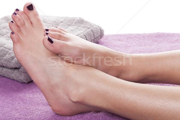 Mezítláb pedikűr törölköző puha lila kezelés Stock fotó © juniart