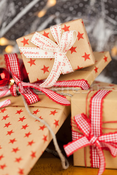 Christmas presents kraft concept Stock photo © juniart