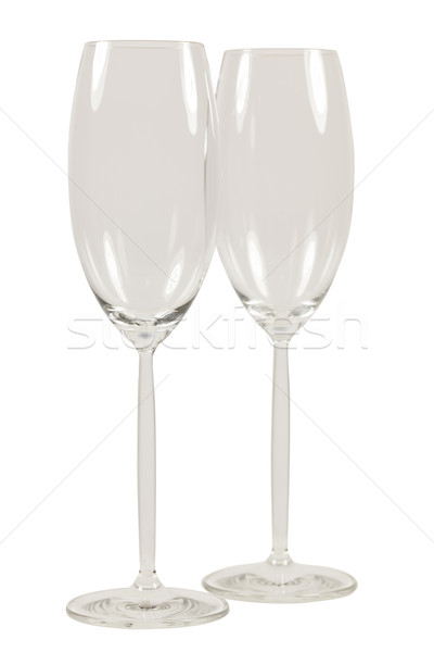 Stock photo: Two empty champagner glasses isolated on White background
