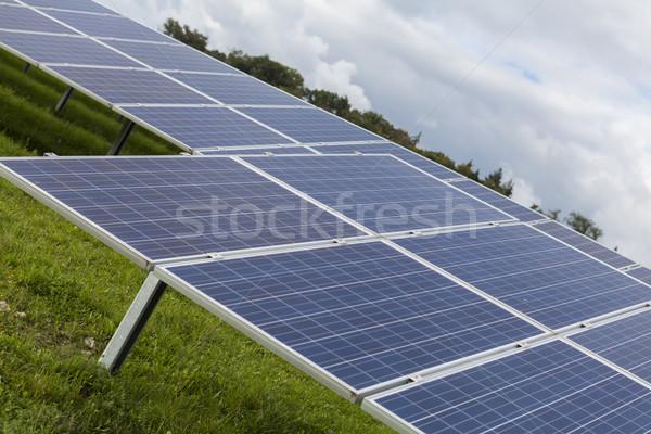 Veld Blauw zonne alternatief energie zon Stockfoto © juniart