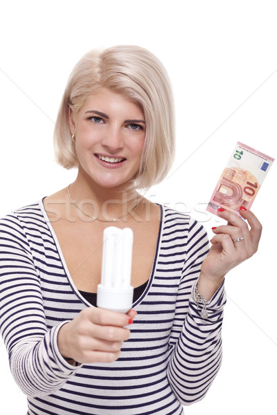 Woman holding an eco-friendly light bulb Stock photo © juniart