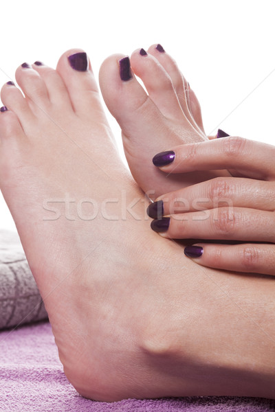 Mains pieds nus vernis à ongles peint sombre gris Photo stock © juniart