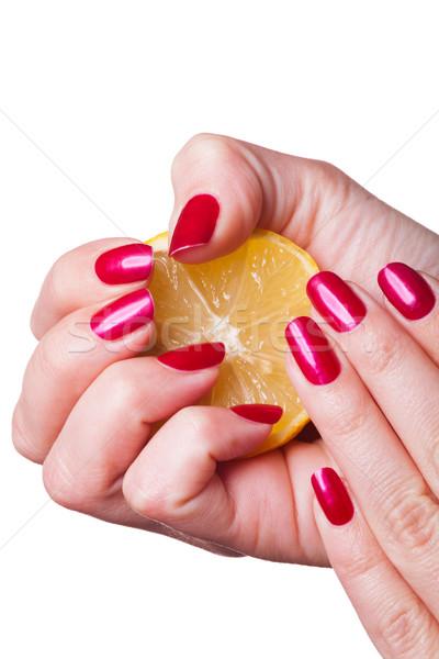 Mão unhas limão branco pintado profundo Foto stock © juniart