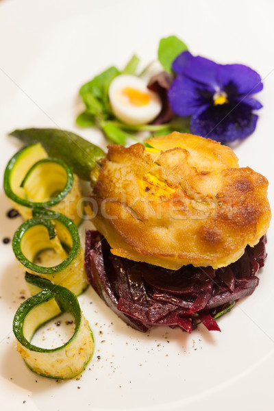 Delicious biscuit with beets, zucchini and pansy Stock photo © juniart