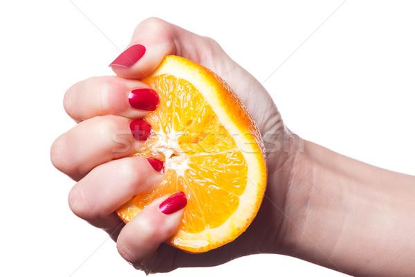 Mão unhas tocar laranja branco pintado Foto stock © juniart