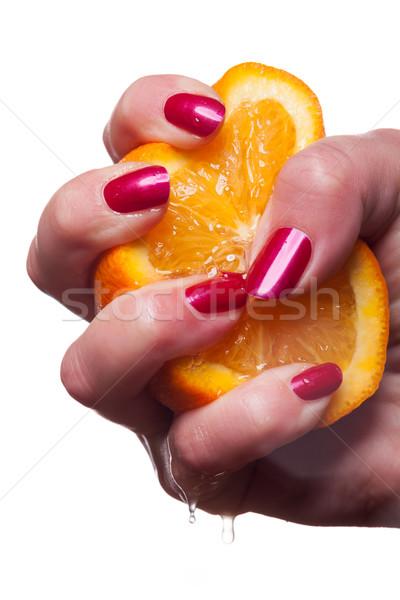 Stock fotó: Kéz · körmök · érintés · narancs · fehér · festett