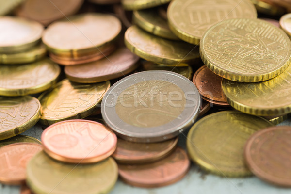 Euro moedas diferente vertical raso Foto stock © juniart