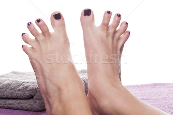 Bose stopy pedicure ręcznik miękkie fioletowy leczenie Zdjęcia stock © juniart
