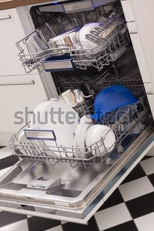 Bulaşık makinesi mutfak temizlemek bulaşık mavi ışık Stok fotoğraf © juniart