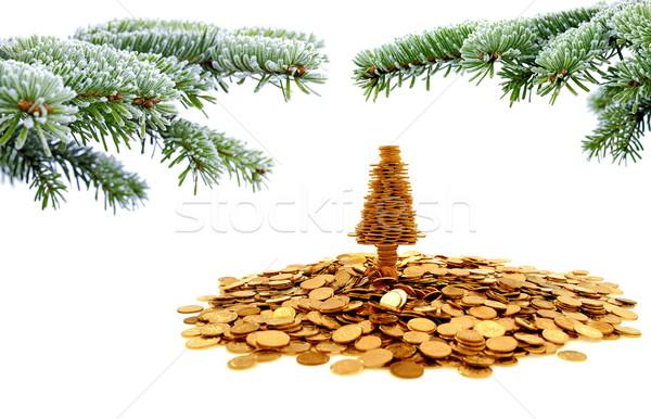 Or arbre bonheur Noël temps blanche Photo stock © kaczor58