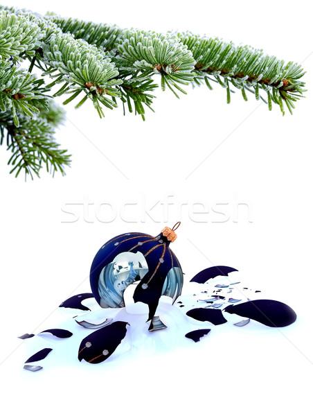 Christmas tree and broken glass bauble Stock photo © kaczor58