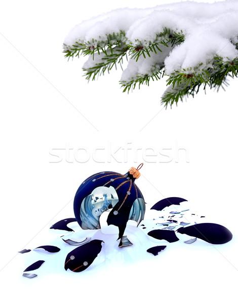 Arbre de noël verre brisé babiole blanche manqué Noël Photo stock © kaczor58