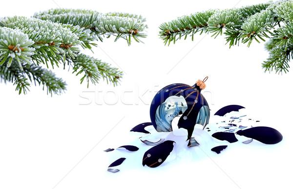 árvore de natal cacos de vidro bugiganga branco fracassado natal Foto stock © kaczor58