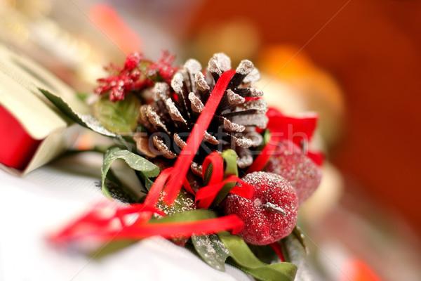 Noël temps décoration bougie cône épinette Photo stock © kaczor58