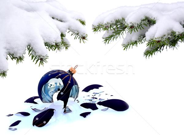 рождественская елка битое стекло безделушка белый не удалось Рождества Сток-фото © kaczor58