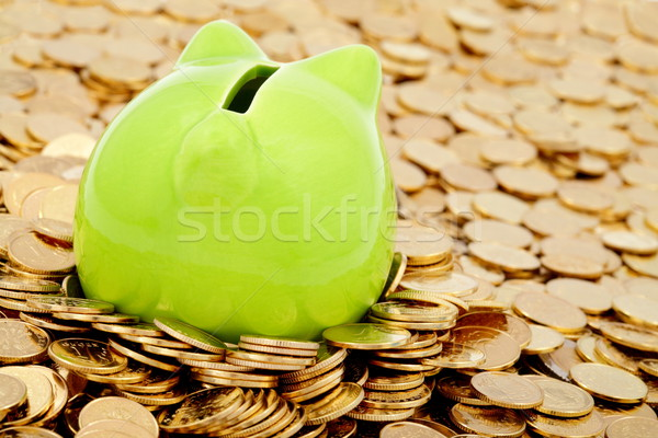 Green piggy bank and sea of  gold money Stock photo © kaczor58