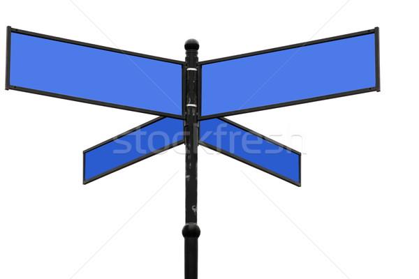 Vieux bleu panneau blanche façon direction Photo stock © kaczor58