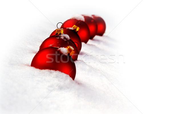 Noel zaman kırmızı cam kar yeşil Stok fotoğraf © kaczor58