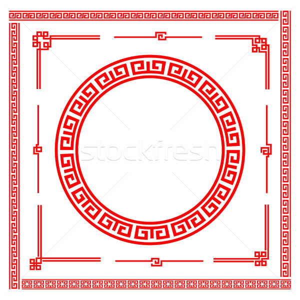 Chinese style art boarder frame element for design and decoratio Stock photo © kaikoro_kgd