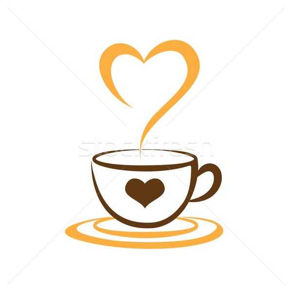 コーヒーカップ 中心 愛 シンボル アイコン 食品 ストックフォト © kaikoro_kgd