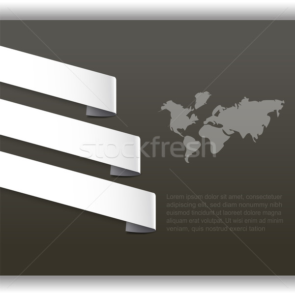Stock photo: Abstract background with world map and paper tag