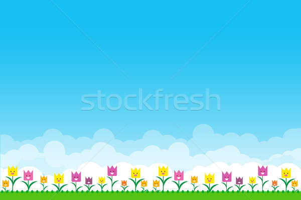 Nature background with green grass and smile flowers and blue sk Stock photo © kaikoro_kgd