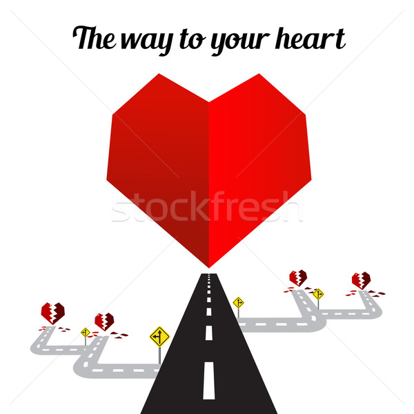 Yol kalp beyaz mutlu valentine dizayn Stok fotoğraf © kaikoro_kgd