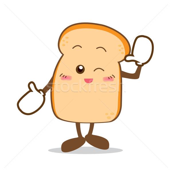 Yalıtılmış mutlu gülümseme dilim ekmek karikatür Stok fotoğraf © kaikoro_kgd