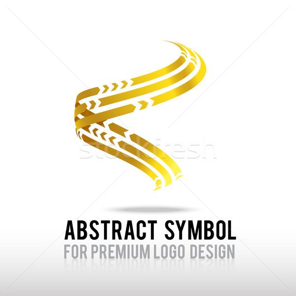 Soyut prim altın spiral logo simge Stok fotoğraf © kaikoro_kgd