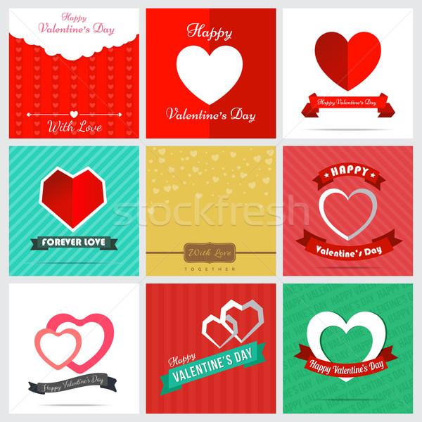 Set of nine style happy Valentine Card Design Stock photo © kaikoro_kgd